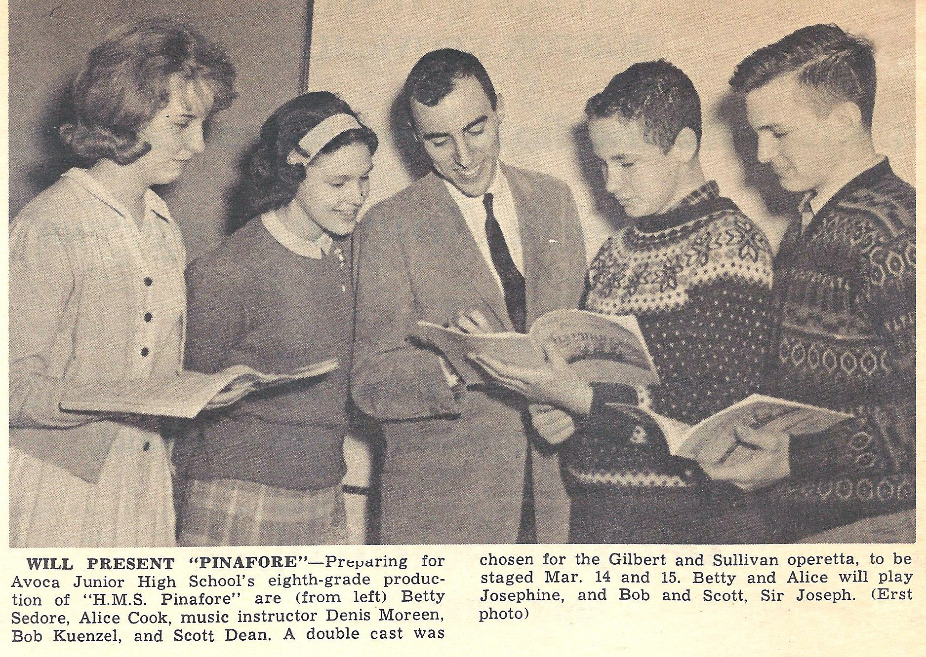 Denis with Avoca singers - 1963